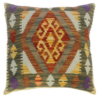 """Claris Gold/Gray Hand-Woven Kilim Throw Pillow(18""""x18"""") For Sale"""