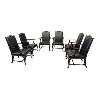 Hickory Chair Leather Chippendale Style Side Chairs - Set of 6
