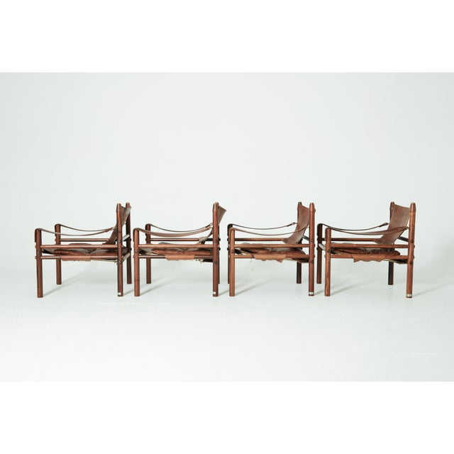 Rare Set of Four Arne Norell Safari Sirocco Chairs, Sweden, 1960s For Sale - Image 10 of 13