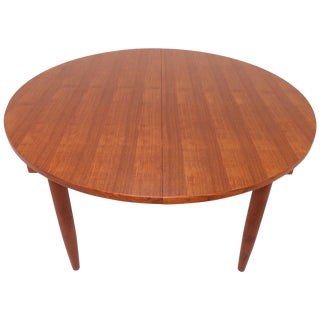 Danish Handmade Teak Large Round Dining Table With Leaf, Circa 1960 For Sale