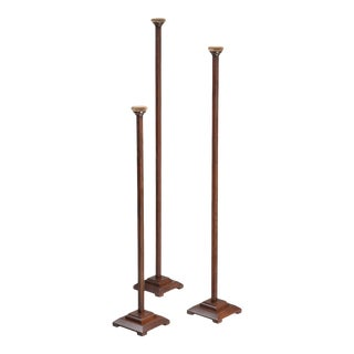 Set of 3 Hat Stands Made of White Oak With Weighted Bases For Sale