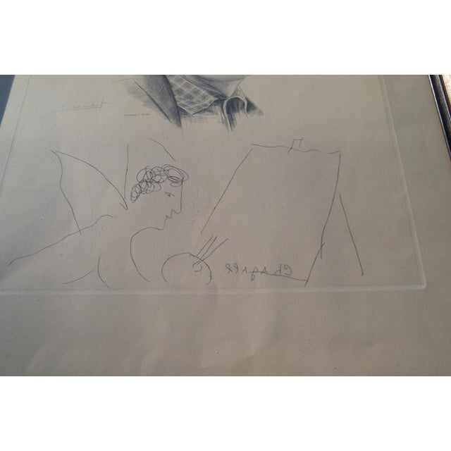 Paper Mid 20th Century Engraving of Marc Chagall by Jacques Combet With Chagall Sketch For Sale - Image 7 of 9
