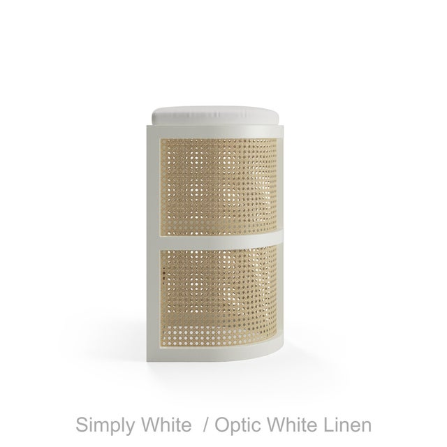 Isabella Bar Stool - Smoked Wood Oak, Optic White Linen For Sale - Image 4 of 5