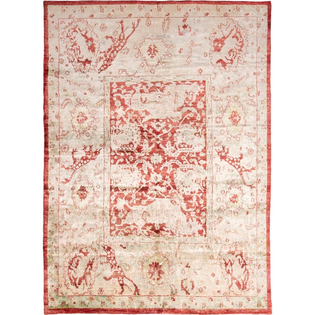 Traditional Hand Knotted Red and Beige Oushak For Sale