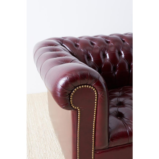 Animal Skin English Cordovan Tufted Leather Chesterfield Sofa For Sale - Image 7 of 13