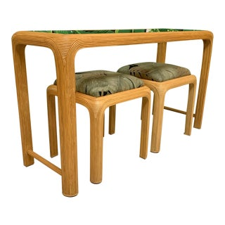 Split Reed Rattan Console Table With Matching Stools For Sale