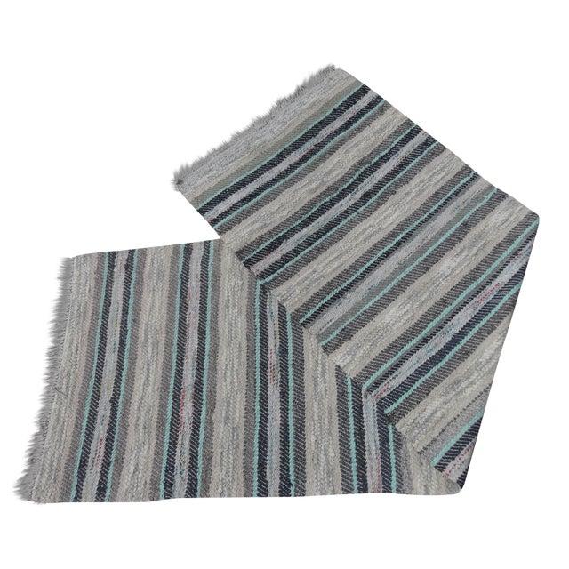 Swedish Hand Woven Rag Rug - 2′5″ × 7′5″ For Sale