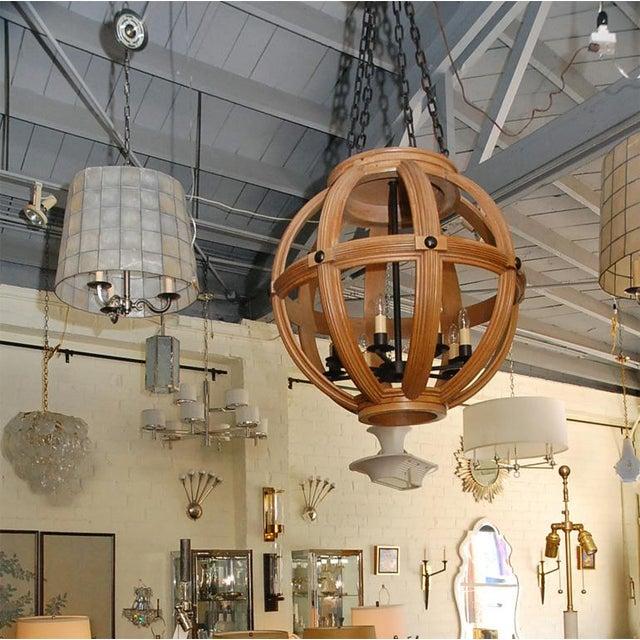 Paul Marra Carved Oak Sphere Chandelier For Sale In Los Angeles - Image 6 of 8