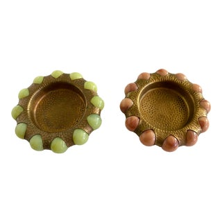 Vintage Brass and Stone Ball Ashtray Dishes- a Pair For Sale