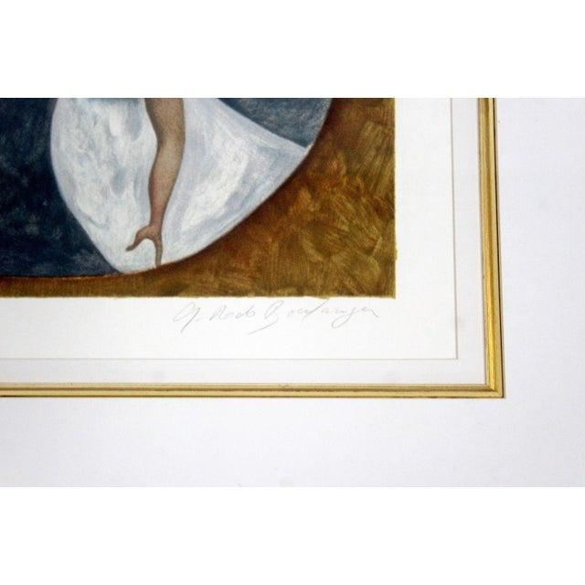 Mid-Century Modern Gold Framed Lithograph Signed by Graciela Boulanger For Sale - Image 4 of 7