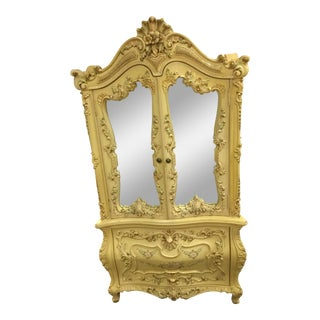 French Provincial Pastel Yellow Armoire