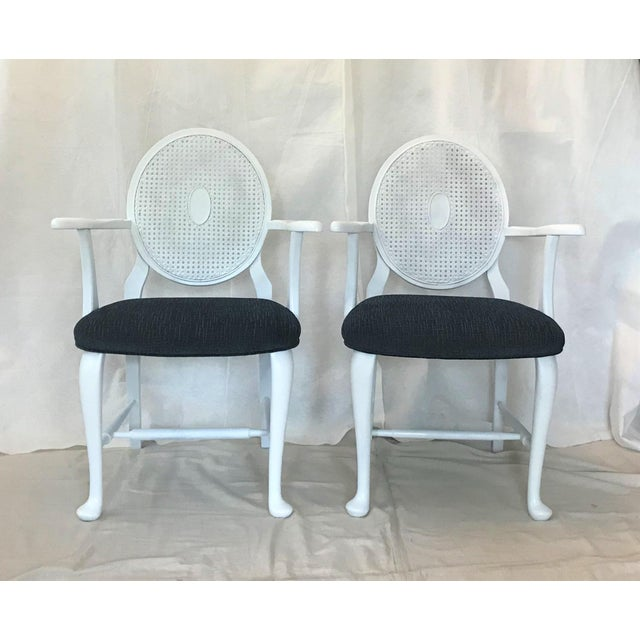 Wood Mid-Century Caned Balloon Back Arm Chairs– a Pair For Sale - Image 7 of 7