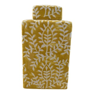 Yellow and White Asian Rectangular Lidded Ceramic Canister For Sale