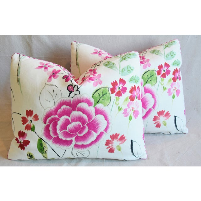 """French Manuel Canovas Floral Linen Feather/Down Pillows 23"""" X 17"""" - Pair For Sale - Image 12 of 13"""