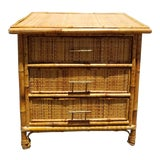 Image of Vintage Mid Century Modern Bamboo Rattan Nightstand For Sale