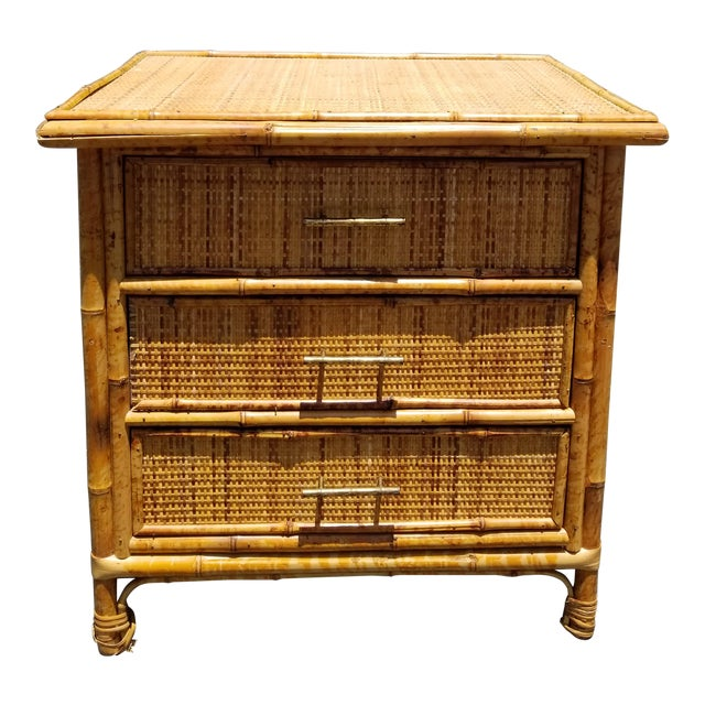 Vintage Mid Century Modern Bamboo Rattan Nightstand For Sale