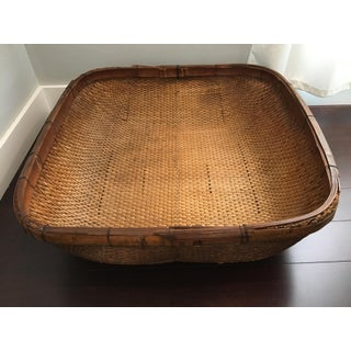 20th Century Folk Art Woven Rattan Oversized Gathering Basket Preview