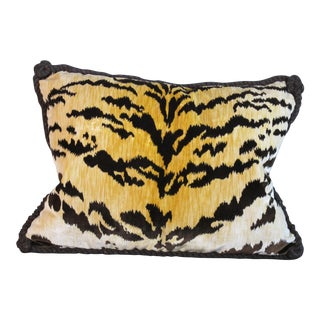 Bevilaqua Tiger Stripe Silk Velvet Pillow For Sale