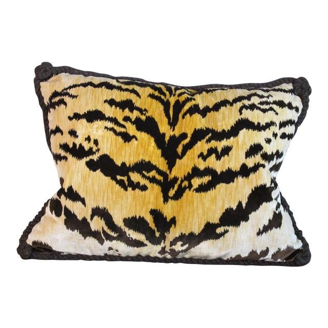 Bevilaqua Tiger Stripe Silk Velvet Pillow For Sale
