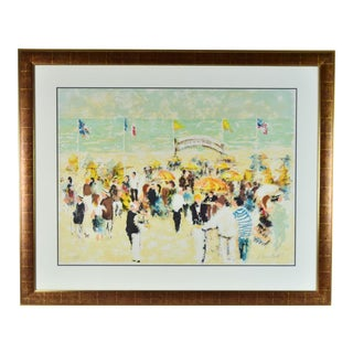 """Bar De La Plage"" Beach Bar Modernist Lithograph Signed & Numbered by Urbain Huchet For Sale"