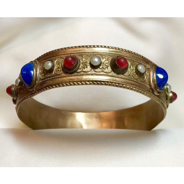 1920s 1920s Austrian Lapis-Blue Glass Cabocon Jeweled Bangle For Sale - Image 5 of 7