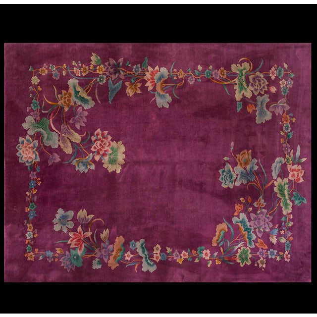 "Purple 1920s Chinese Art Deco Rug - 8'6""x11'4"" For Sale - Image 8 of 8"