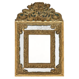 Napoleon III Period Brass Embossed Mirror For Sale
