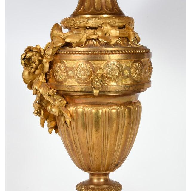 Louis XVI Style Doré Bronze Table Lamps - a Pair For Sale - Image 4 of 10