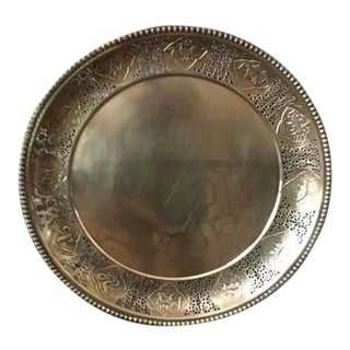 1960s Large Asian Zodiac Brass Tray For Sale