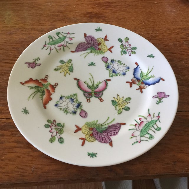 1970s Vintage Japanese Porcelain Butterfly Plate For Sale - Image 4 of 4