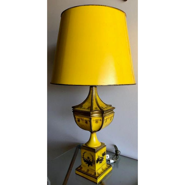 Yellow Tole Table Lamp With Tole Shade For Sale In San Francisco - Image 6 of 11