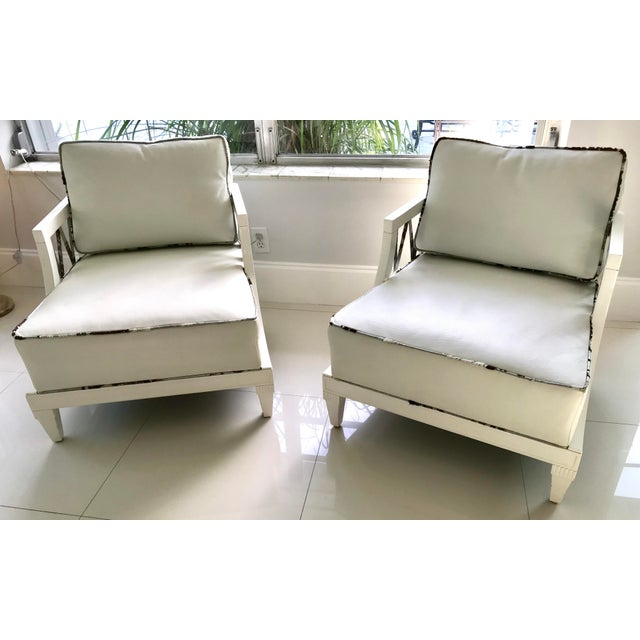 1940's Hollywood Regency Grosfeld House White Laquered Armchairs - a Pair For Sale - Image 13 of 13