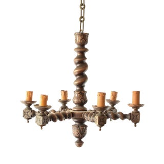 Vintage Mid- Century Wooden Belgian Brown Chandelier For Sale