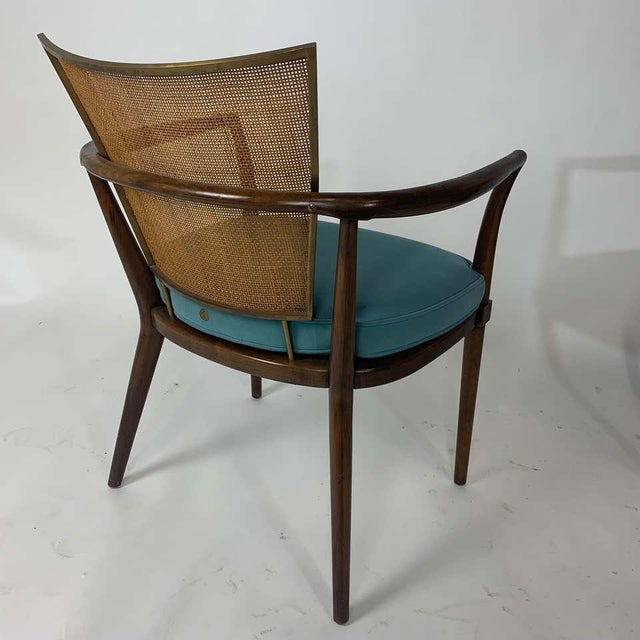 Pair of Sculptural Bert England Brass, Cane & Carved Walnut Arm or Dining Chairs For Sale - Image 12 of 13