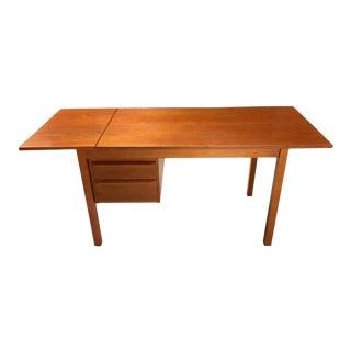 Arne Vodder Style Danish Teak Desk With Sliding Drop-Leaf Top For Sale