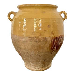 19th Century Antique French Confit Pot With Rich Yellow Glaze For Sale