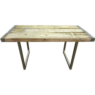 Reclaimed Pine Wood Table With Steel Legs For Sale