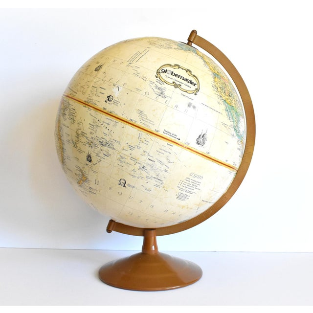 "Mid-Century Modern Vintage 12"" Replogle Globemaster Topographical Relief Globe For Sale - Image 3 of 10"
