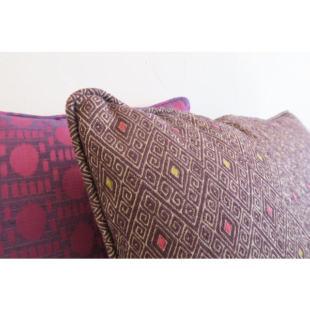 Custom Purple Pattern Pillows- a Pair For Sale - Image 5 of 5
