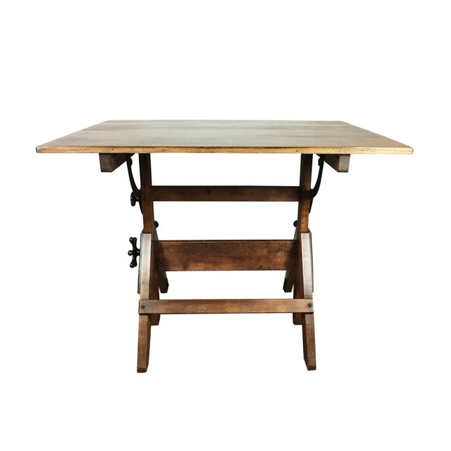Vintage 1920s Cast Iron Hardware, Solid Maple and Pine Drafting Table For Sale - Image 4 of 8