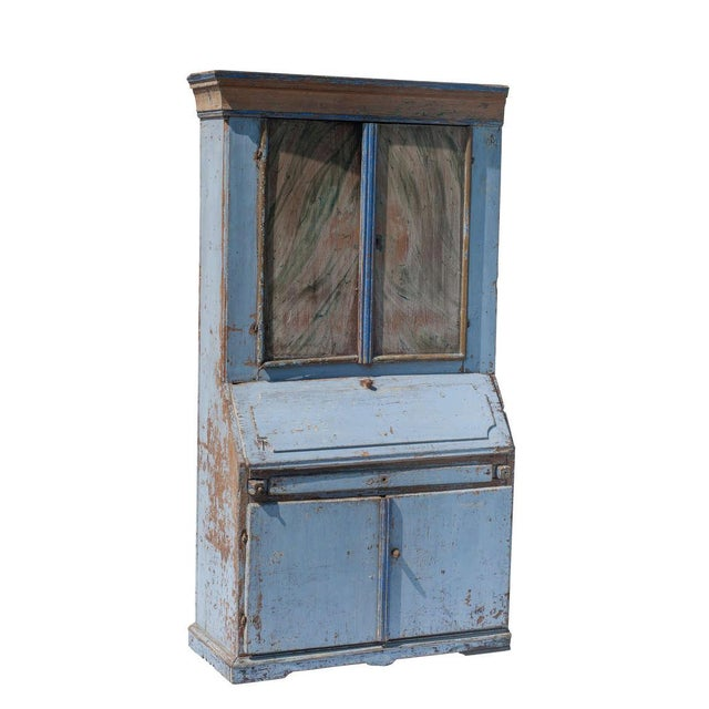 A blue painted Swedish Drop Front Secretaire with decorative painting inside the doors.