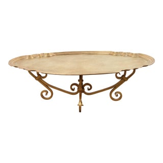 1970s Hollywood Regency Baker Brass Tray Table For Sale