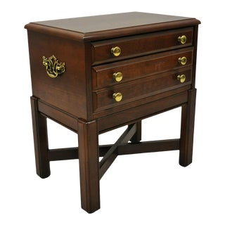 Vintage Bassett Chippendale Cherry Wood Small Two Drawer Silverware Chest Stand For Sale