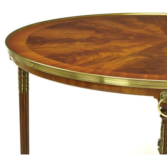 1970s John Widdicomb Regency Center Table with Crotch Mahogany Parquetry Top For Sale - Image 5 of 11