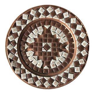 Mid Century Hand-Decorated Mosaic Tile Wall Pocket For Sale