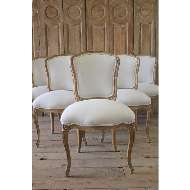 Mid 20th Century Set of Six Wood Louis XV Style Dining Chairs in Natural Belgian Linen For Sale - Image 5 of 11