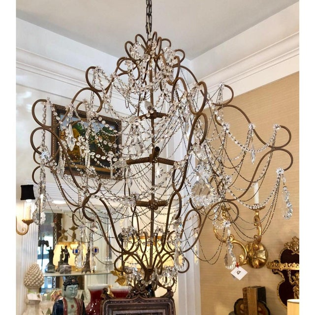 9 Light French Beaded & Crystal Chandelier For Sale - Image 4 of 5