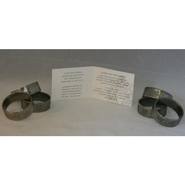 Artisan Hand Forged Norwegian Pewter Napkin Rings in Original Box - Set of 6 For Sale In West Palm - Image 6 of 8