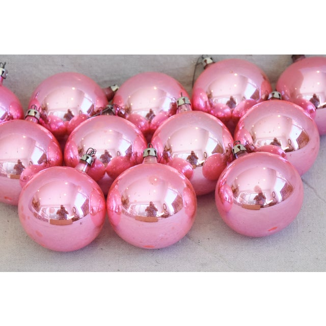 Pink Vintage Colorful Christmas Ornaments W/Box - Set of 12 For Sale In Los Angeles - Image 6 of 8