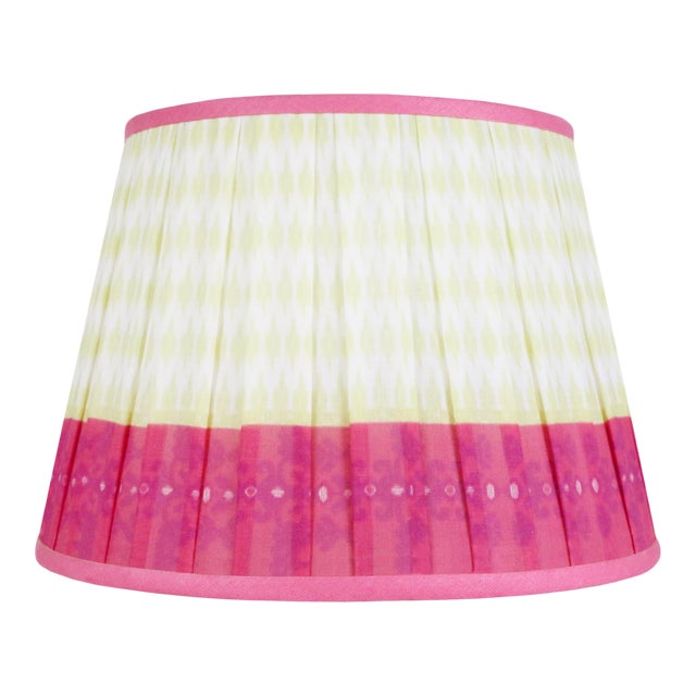 """Pleated Printed Shade with Border 16"""" Citrus and Coral For Sale"""